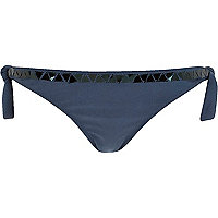 Navy embellished bikini briefs