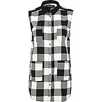 Black and white check sleeveless shirt