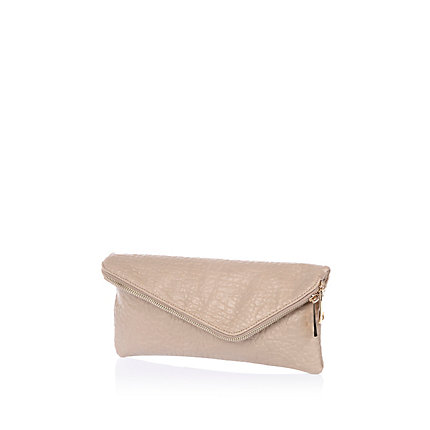 Beige snake asymmetric fold over clutch bag