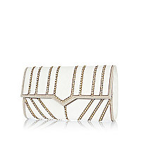 White diamante panel clutch bag