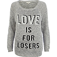 Grey love is for losers print jumper
