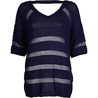 Blue contrast knit v neck jumper