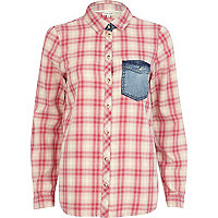 Pink check contrast denim pocket shirt