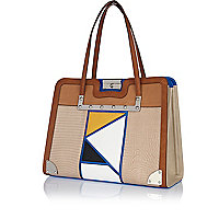 Tan patchwork front tote bag