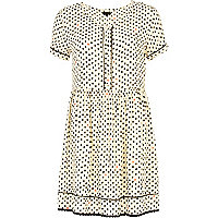 Cream polka dot button down smock dress