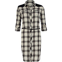 Black check belted roll sleeve shirt dress