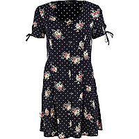 Navy polka dot floral tea dress