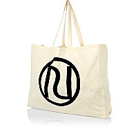 Beige cotton RI logo shopper bag