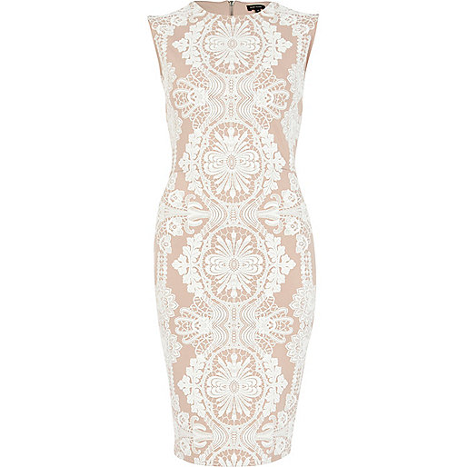 Pink lace print sleeveless midi pencil dress