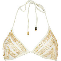 Cream Pacha triangle embellished bikini top