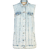 Longline sleeveless bleached denim shirt