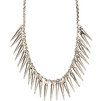 Silver tone spike necklace