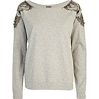 Grey embellished shoulder sweatshirt