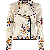 Cream satin oriental embroidered biker jacket