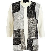 Cream metallic beaded unfastened jacket
