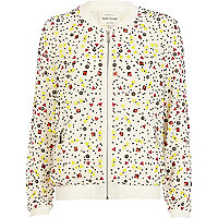 Cream multicoloured beaded bomber jacket