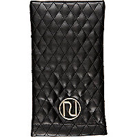 Black quilted snap sunglasses case