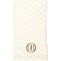 Cream quilted snap sunglasses case