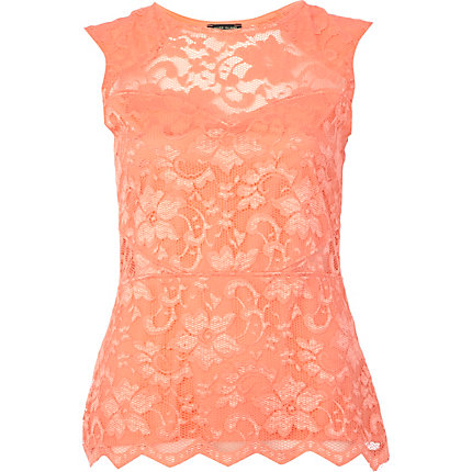 Coral lace scallop edge sleeveless top