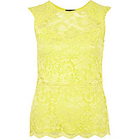 Lime lace scallop edge sleeveless top