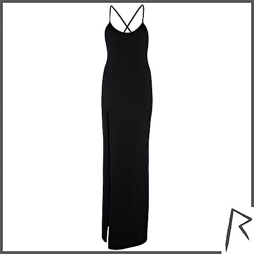 Black Rihanna thigh split cami maxi dress