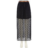 Black lace side split maxi skirt