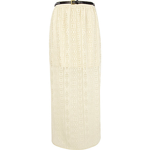 Cream lace side split maxi skirt
