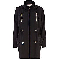 Black lightweight utility parka jacket