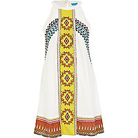 White tribal print Mexican beach dress