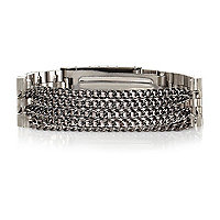 Silver tone watch chain bracelet