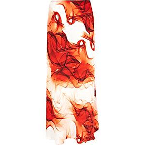 Orange printed bias cut maxi skirt