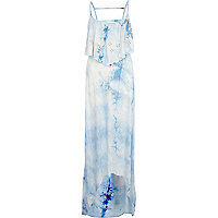 Blue tie dye frill tiered maxi dress