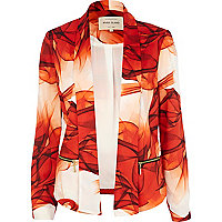 Orange printed zip pocket unfastened blazer
