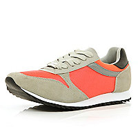 Orange colour block trainers
