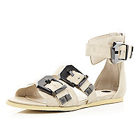 Cream chunky buckle sandals