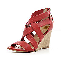 Red strappy sandal wedges