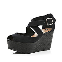 Black peep toe strappy wedges