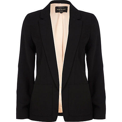 Black patch pocket unfastened blazer
