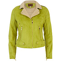 Lime shearling biker jacket