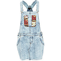 Light acid wash aztec pocket dungaree dress