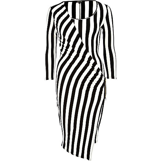 Black and white stripe midi draped dress