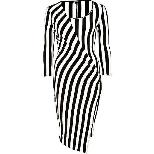 Black and white stripe midi draped dress