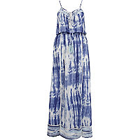 Blue tie dye lace edge maxi dress
