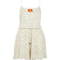 Cream Pacha embellished cami playsuit