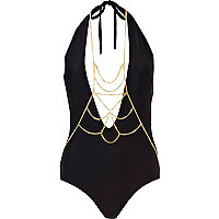 Black body jewellery halter neck swimsuit