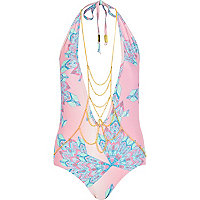 Pink Pacha body chain halter neck swimsuit