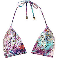 Purple Pacha moulded cup halter bikini top