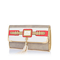 White neon trim tassel clutch bag