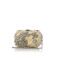 Cream woven embellished box bag