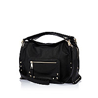 Black studded double strap handbag